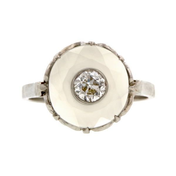 Vintage Diamond & Moonstone Ring, Old Euro 0.34ct:: Doyle & Doyle