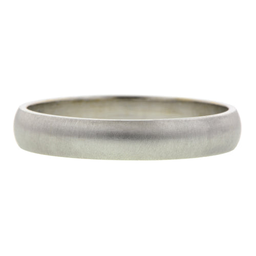 Half Round Wedding Band Ring, 4mm 18kw