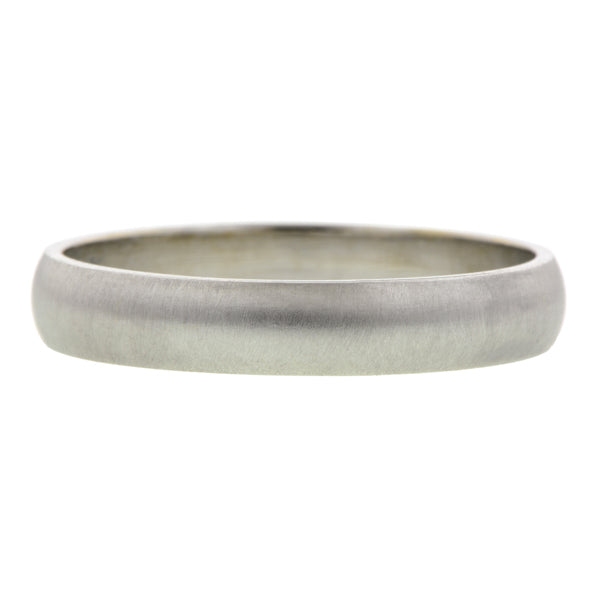 Contemporary ring: a White Gold Half Round Wedding Band 4mm sold by Doyle & Doyle vintage and antique jewelry boutique.