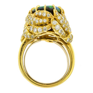 Vintage Julius Cohen Opal & Diamond Ring:: Doyle & Doyle