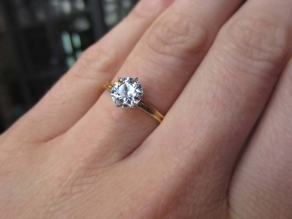 Antique Engagement Ring, Old Euro 1.04