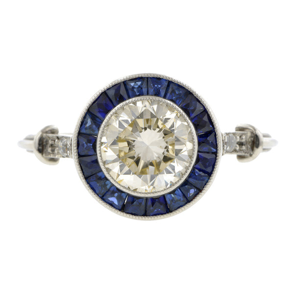 Diamond & Sapphire Engagement Ring, RBC 1.31ct::Doyle & Doyle