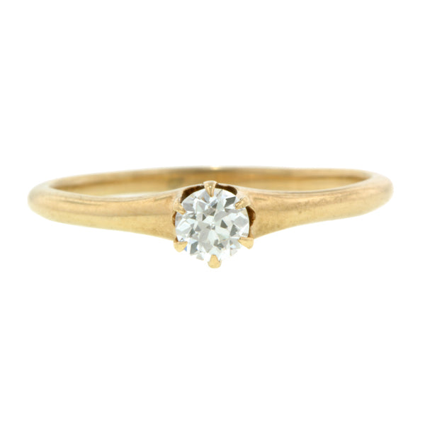 Antique Solitaire Engagement Ring, Old Euro 0.28ct