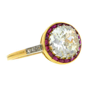 Edwardian Diamond & Ruby Ring, Old Euro 1.63ct::Doyle & Doyle