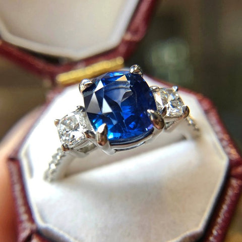 Sapphire & Diamond Ring, Cushion 3.24ct. from Doyle & Doyle