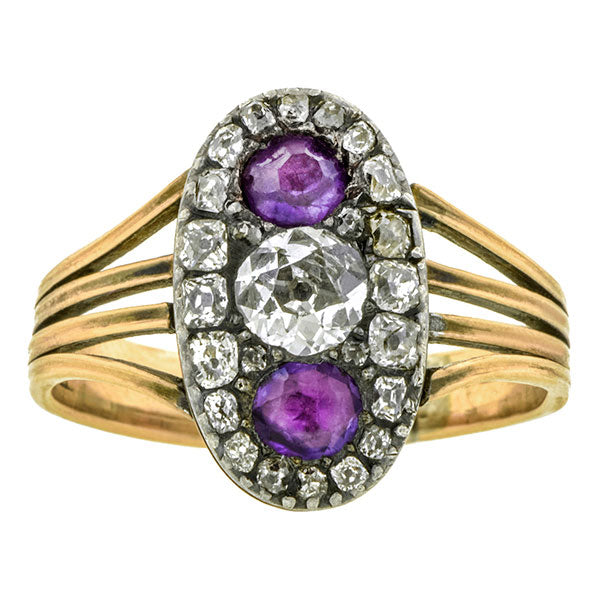 Georgian Diamond & Amethyst Cluster Ring :: Doyle & Doyle