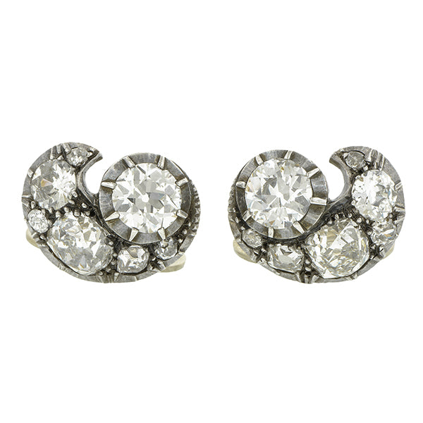 Victorian Diamond Cluster Clip Earrings, Old Mine & Old Euro; 6.33ctw:: Doyle & Doyle