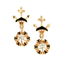 Vintage Enamel Diamond Drop Earrings:: Doyle & Doyle