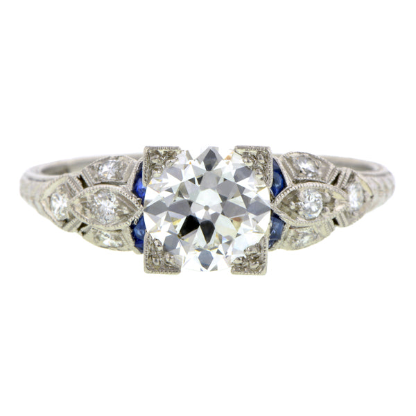 Diamond & Sapphire* Engagement Ring, TRB 1.15ct
