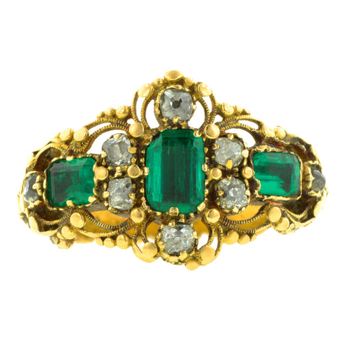 Georgian Emerald & Diamond Ring:: Doyle & Doyle