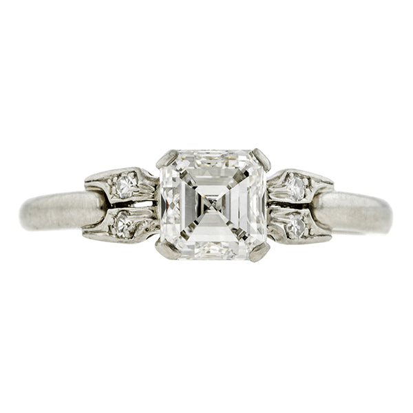 Art Deco Engagement Ring, Asscher Cut Diamond 1.00ct., sold by Doyle & Doyle an antique & vintage jewelry store.