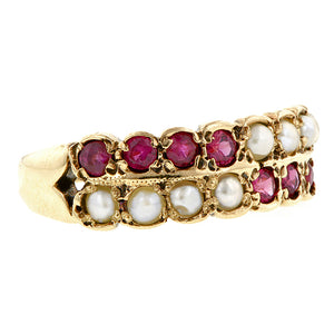 Vintage Ruby & Pearl Ring Doyle & Doyle