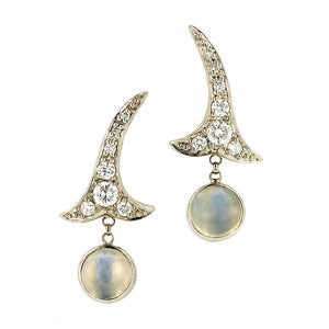 Diamond Set .55ctw Moonstone Drop Earrings::Doyle &Doyle