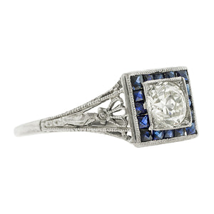 Art Deco Engagement Ring, TRB 0.55ct