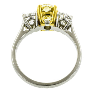 Vintage Fancy Yellow Diamond Ring, Oval 1.58ct::Doyle & Doyle