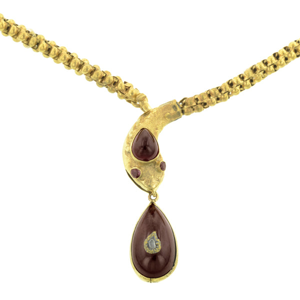 Victorian Garnet & Diamond Snake Necklace:: Doyle & Doyle