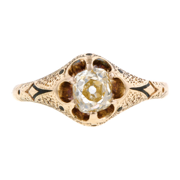 Antique Light Yellow Diamond Engagement Ring, Old Mine 0.56ct