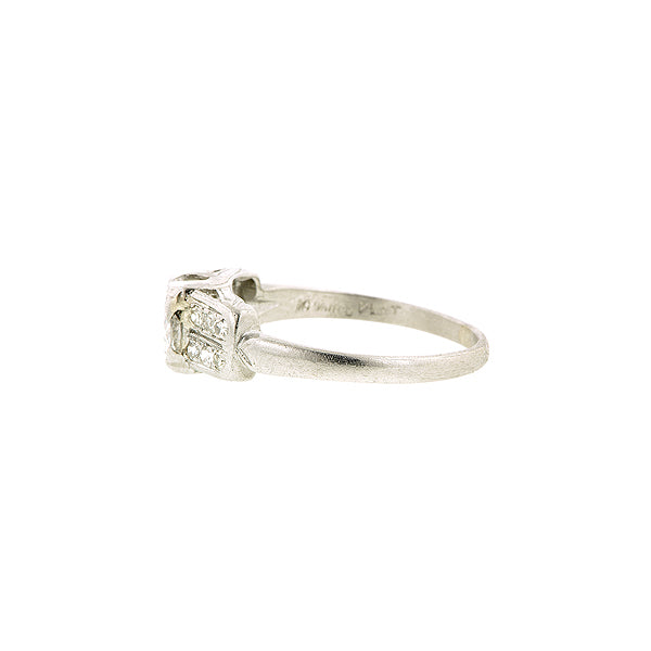 Art Deco TRB .50ct Platinum Engagement Ring:: Doyle & Doyle