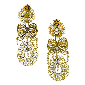 Georgian Seed Pearl Filigree Pendeloque Earrings:: Doyle & Doyle