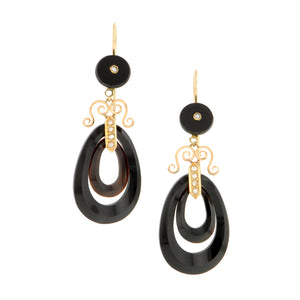 Victorian Onyx Drop Earrings:: Doyle & Doyle
