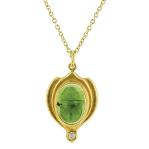 Art Nouveau Nephrite & Diamond Scarab Pendant Necklace