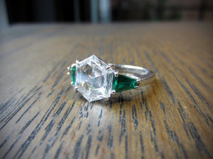 Vintage Diamond & Emerald Engagement Ring, Hexagonal 2.19ct