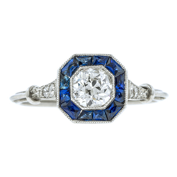 Estate Diamond & Sapphire Engagement Ring, Old Euro 0.50ct:: Doyle & Doyle