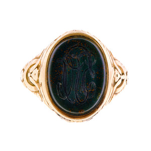 Victorian Bloodstone Intaglio Mourning Locket Ring::Doyle & Doyle