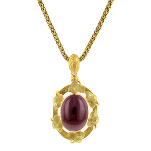 Early Victorian Garnet Pendant Necklace:: Doyle & Doyle