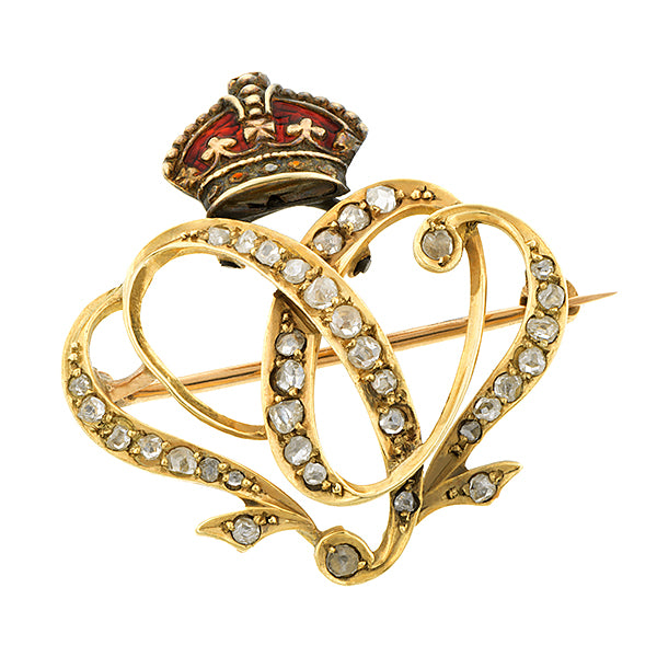 Edwardian Crowned Rose Cut Diamond 1902 Brooch/Pin:: Doyle & Doyle