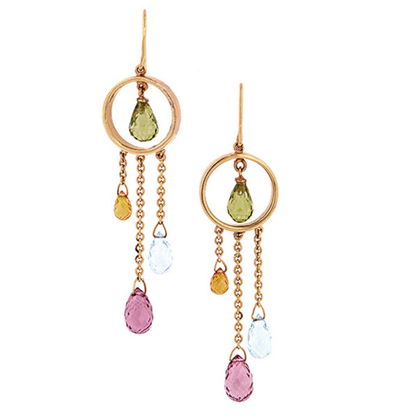 Multistone Briolette Drop Earrings::Doyle&Doyle