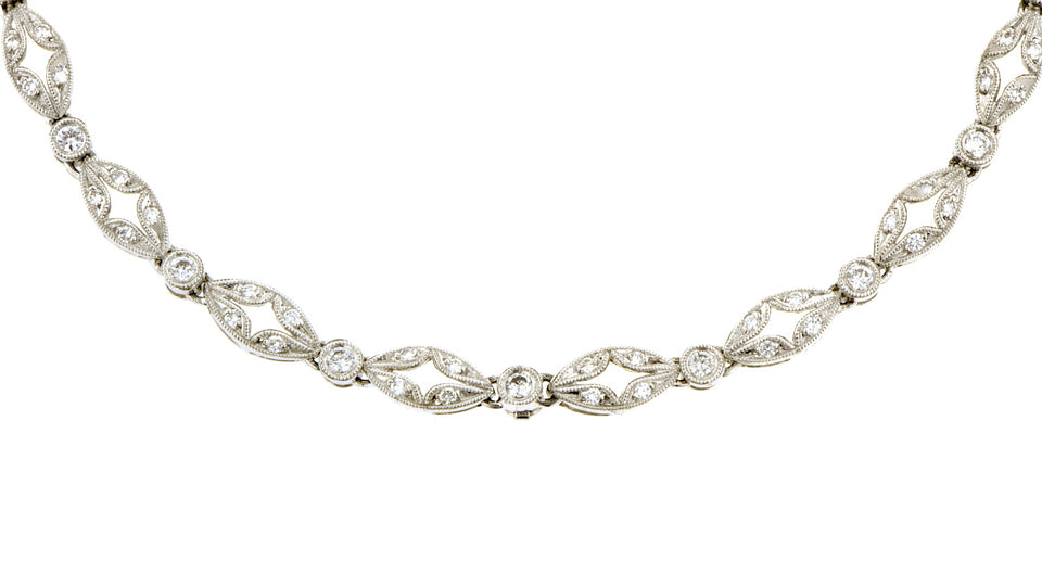 Diamond Navette Link Necklace
