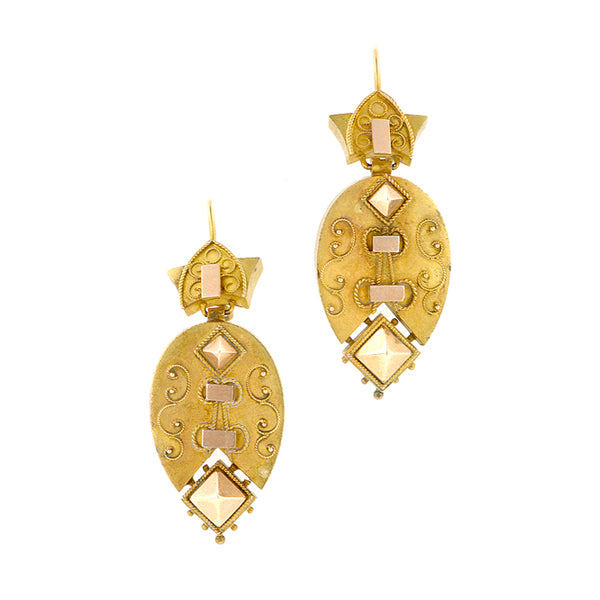 Antique Etruscan Revival Drop Earrings Doyle & Doyle