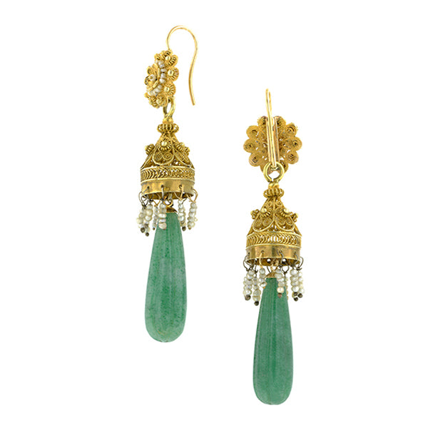 Vintage Day Night Aventurine & Pearl Drop Earrings:: Doyle & Doyle