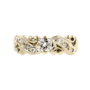 Estate Diamond Wedding Band Ring, White Gold, sold by Doyle & Doyle an antique and vintage jewelry store.