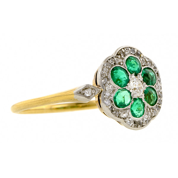Edwardian Emerald & Diamond Flower Ring:: Doyle & Doyle