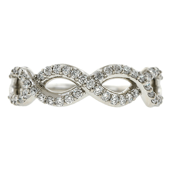 Contemporary ring: a Platinum Entwined Diamond Band- Heirloom sold by Doyle & Doyle vintage and antique jewelry boutique.