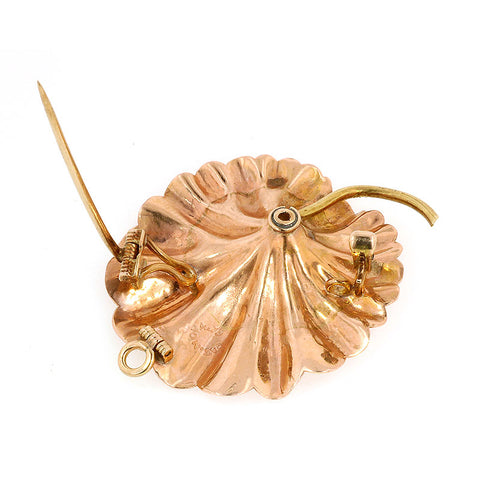 Victorian Old Euro Tri-gold Lily Pad Pin Pendant