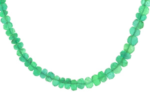 Emerald Bead Necklace with Diamond Snake Clasp