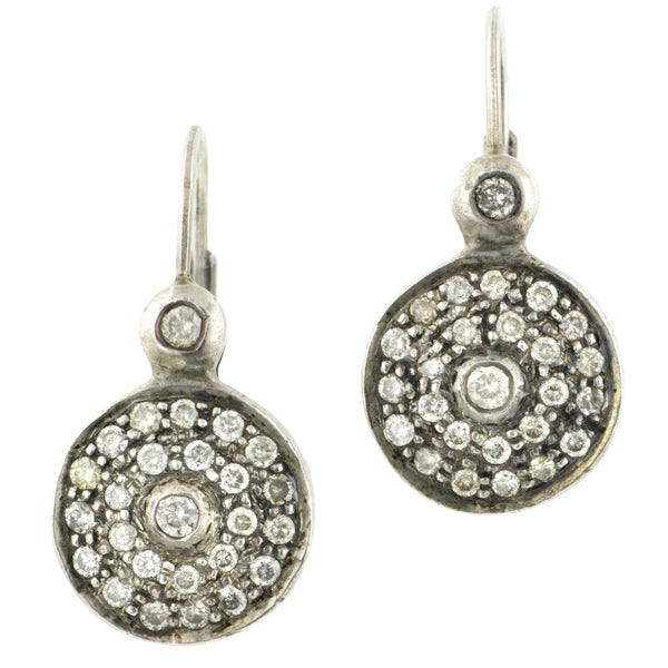 Vintage Pave Diamond Drop Earrings::Doyle & Doyle