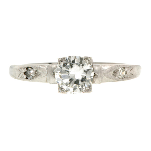 Vintage Diamond Engagement Ring, RBC 0.55ct