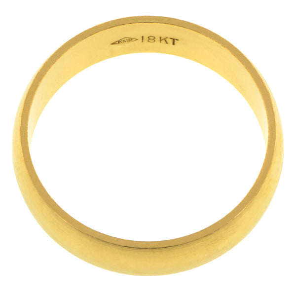 Contemporary ring: a Yellow Gold Half Round Wedding Band 6mm sold by Doyle & Doyle vintage and antique jewelry boutique.