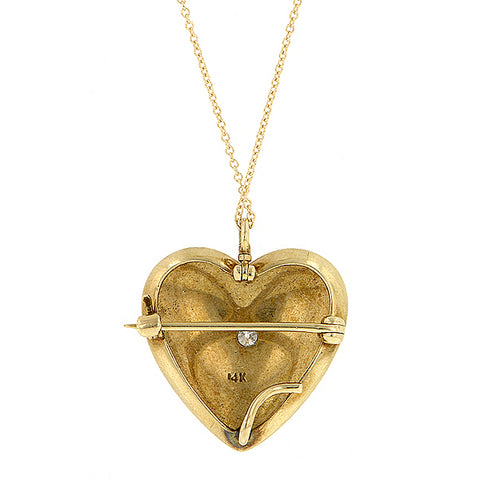Antique Diamond & Seed Pearl Heart Pin/Pendant::Doyle & Doyle