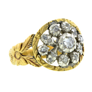 Georgian ring: a Yellow Gold & Silver Rose Cut Diamond Cluster Engagement Ring sold by Doyle & Doyle vintage and antique jewelry boutique.