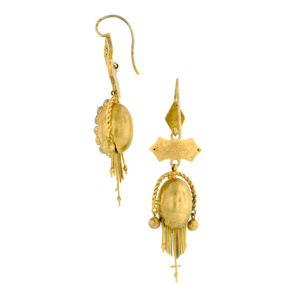 Victorian Gold And Turqouise Drop Earrings::Doyle & Doyle