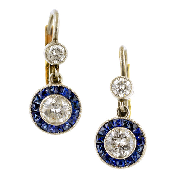 Estate Diamond & Sapphire Earrings::Doyle & Doyle
