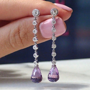 Diamond & Amethyst Briolette Drop Earrings sold by Doyle & Doyle vintage and antique jewelry boutique.