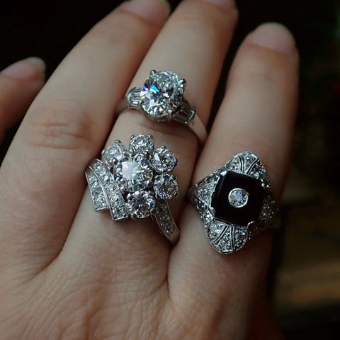 Vintage diamond engagement rings from Doyle & Doyle in New York