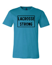 Aqua Lacrosse Strong Adult Lacrosse T-Shirt With Lacrosse Strong Design On Front
