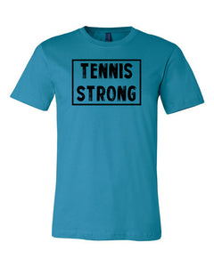 Aqua Tennis Strong Adult Tennis T-Shirt With Tennis Strong Design On Front